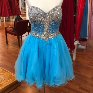 Blue prom dress with rhinestones, tie corset back
